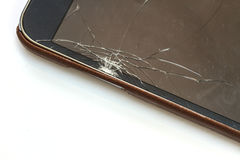 Smartphone with broken screen. On white background royalty free stock photo