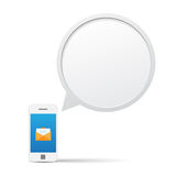 Smartphone and bubble talk message. Stock Images