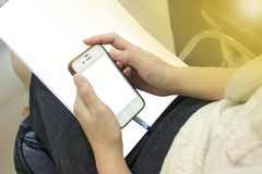 Smartphone and business concept, business technology stock photography