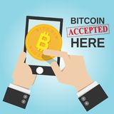 Smartphone in business man hand with bitcoin sign stock illustration