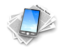 Smartphone in the Business News. A smartphone in the latest business news. 3d rendered Illustration. on white Stock Photography