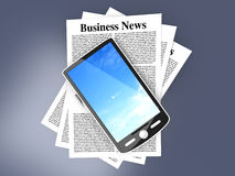 Smartphone in the Business News Stock Image
