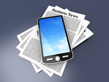 Smartphone in the Business News. A smartphone in the latest business news. 3d rendered Illustration Royalty Free Stock Photos