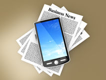 Smartphone in the Business News. A smartphone in the latest business news. 3d rendered Illustration Royalty Free Stock Photography