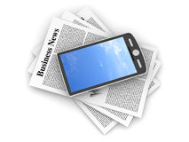 Smartphone in the Business News. A smartphone in the latest business news. 3d rendered Illustration Stock Images