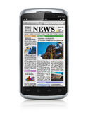 Smartphone with business news Stock Images