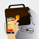 Smartphone businessman cv glasses suitcase pen icon. Company rosource design. colorful and flat illustration Royalty Free Stock Photos