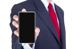 Smartphone on businessman hand Stock Photography