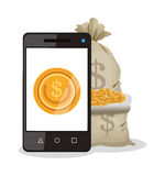 Smartphone businness and financial design Stock Images