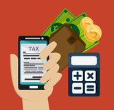 Smartphone and calculator icon. Tax and Financial item. Vector g Stock Image