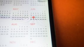 Smartphone with a calendar.Close up royalty free stock photo