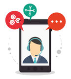 Smartphone call center assistance talking Royalty Free Stock Photo
