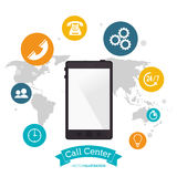 Smartphone call center technology global application Stock Image