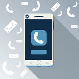Smartphone call and sends message Royalty Free Stock Photography