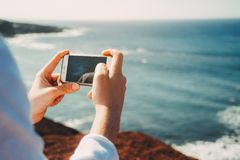 Smartphone camera at shore Stock Image