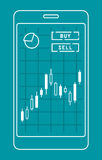 Smartphone with candle chart of forex or stock data graphic in thin line style. Stock Image