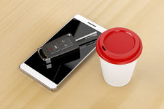 Smartphone, car key and coffee Royalty Free Stock Image
