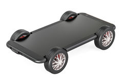 Smartphone on car wheels, 3D rendering. Isolated on white background Royalty Free Stock Photography