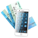 Smartphone, card bank, tickets. Smartphone, bank cards and plane tickets,  on white background Royalty Free Stock Photo