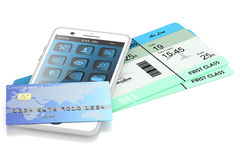 Smartphone, card bank, tickets. Smartphone, bank cards and plane tickets,  on white background Royalty Free Stock Photography