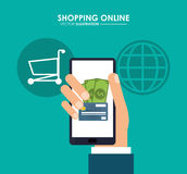 Smartphone, card and shopping cart. Shopping online. Vector grap Stock Photography