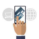 Smartphone, card and shopping cart. Shopping online. Vector grap Royalty Free Stock Photos