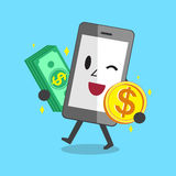 Smartphone carrying money stack and coin Royalty Free Stock Image