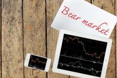 Smartphone, carta con il testo e la compressa del mercato di orso con il grafico sopra Fotografie Stock Libere da Diritti