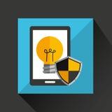 Smartphone cartoon bulb idea creative safety icon. Illustration Royalty Free Stock Photos