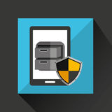 Smartphone cartoon file cabinet security icon. Illustration Royalty Free Stock Image