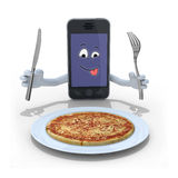 Smartphone cartoon in front of a pizza Stock Photo