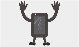 Smartphone cartoon. This is a logo or template mouth cartoon often called in the designer`s , this photo is made by way trace of sketches that are already making Royalty Free Stock Photos