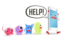 Smartphone cartoon need help from virus computer attack Royalty Free Stock Image
