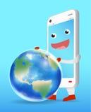 Smartphone cartoon playing with earth globe vector Stock Photo