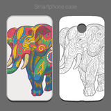 Smartphone case design colorful elephant vector Stock Image