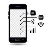 Smartphone cechy Biały tło indywidualne ikony ilustracja wektor