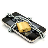 Smartphone With Chain And Padlock Stock Image