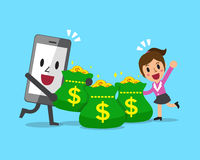 Smartphone character and businesswoman with money bags Royalty Free Stock Images