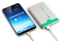 Smartphone charging with power bank royalty free illustration