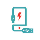 Smartphone charging vector ilustration. Stock Photo