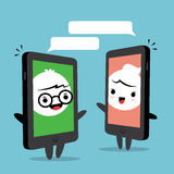 Smartphone Chat Cartoon Royalty Free Stock Photos