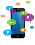 Smartphone chat messaging. With Color Talk Bubbles royalty free illustration