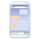 Smartphone chat. Mobile touch phone with sms chat on the screen in white background Stock Photo