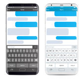 Smartphone chatting sms app template bubbles. Black and white theme. Place your own text to the message clouds. Compose dialogues using samples bubbles royalty free illustration