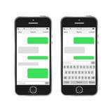 Smartphone chatting SMS Messages speech Bubbles. Royalty Free Stock Photo