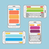 Smartphone chatting sms messages speech bubbles. Vector template. Internet messaging, chat web communication. Vector illustration Stock Photo