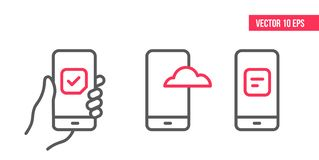 Smartphone with check mark on screen, cloud hosting icon, checklist clipboard icon. line icons. hand holding a mobile royalty free illustration