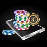 Smartphone and casino chips stock illustration