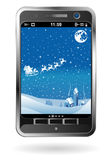 Smartphone with Christmas background Royalty Free Stock Photo