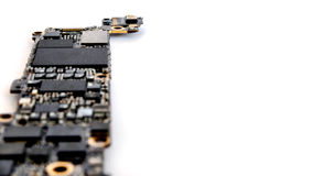 Smartphone circuit board isolate, Selective focus Royalty Free Stock Photos